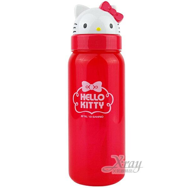 X射線【C239304】Hello Kitty可愛臉型掀蓋式彈跳吸管水壺(白大頭紅瓶身)500ml,水瓶/隨身瓶/飲水壺/外出水壺/防漏