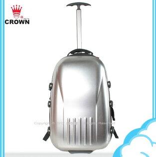 【騷包館】【CROWN皇冠】18吋可後背兼托拉式硬殼拉鍊旅行箱 銀色CM2025(福利品)