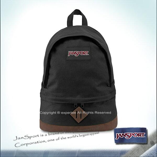 請詢問庫存【騷包館】JANSPORT專櫃 棉質帆布皮底雞蛋型電腦後背包 黑色 JS-43950J008