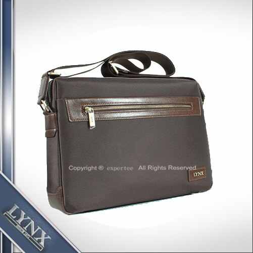 預訂【騷包館】LYNX美國山貓 牛皮 單拉鏈尼龍斜背包 小 咖啡 LY29-231-85