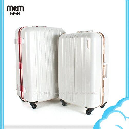 【騷包館】MOM JAPAN 日本品牌 28吋 亮彩系列 鋁框鏡面海關鎖旅行箱 雙色 MF6008-28-RD