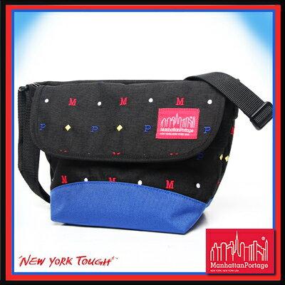 【騷包館】曼哈頓 紐約品牌 刺繡字體款小郵差包 黑藍 MP1603-ARC-BK Manhattan Portage