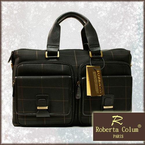 【騷包館】【Roberta Colum 】法國巴黎品牌 牛皮 咖啡棋盤格線 雙口袋手提2用電腦包
