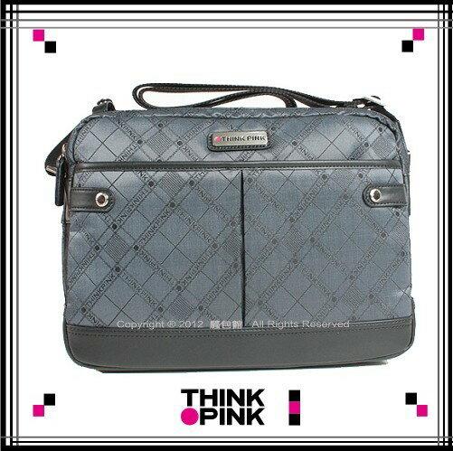 ~騷包館~THINK PINK 潮流專櫃品牌 緹花系列斜背包^(大^)灰色112~7102