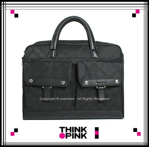 ~騷包館~THINK PINK 潮流專櫃品牌 超凡格紋系列 手提兩用公事包 黑色 TP~1