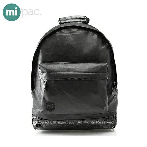 【騷包館】【mi pac】英國時尚 鱷魚底紋後背包 黑 MIPAC-D03-1B