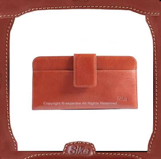 【騷包館】Sika 義大利牛皮 釦式超薄長夾 咖啡色 A8248-01