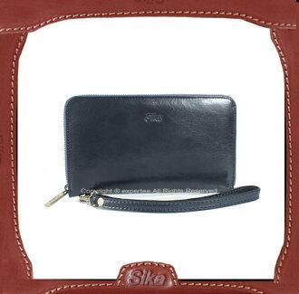 【騷包館】Sika 義大利牛皮  單層拉鏈袋手拿式長夾 深藍 SK-A8245-06