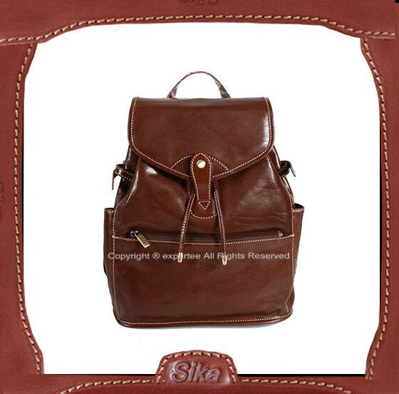 【騷包館】Sika 義大利牛皮 扣式兩側口袋後背包 深咖啡 M6150-02