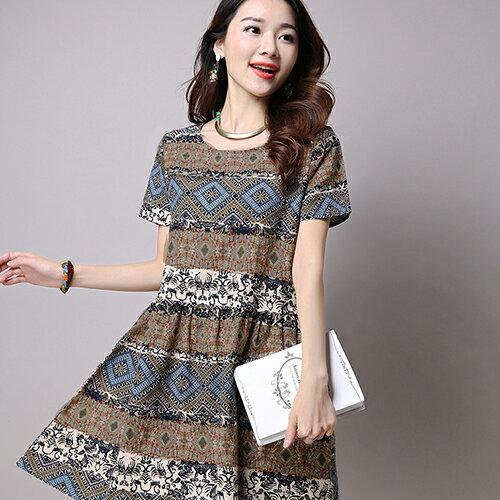 短洋裝 - 民族風印花寬鬆短袖洋裝【29137】藍色巴黎-現貨+預購 2
