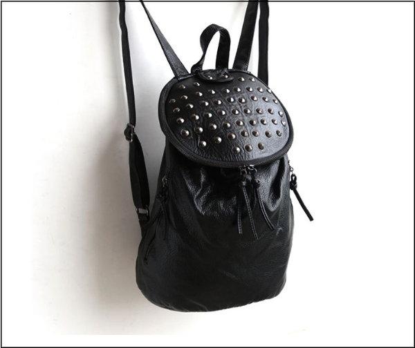【T-HOMME 】JAPAN&KOREA 復古手工製正牛皮  PU皮拼鉚釘水洗女後背包