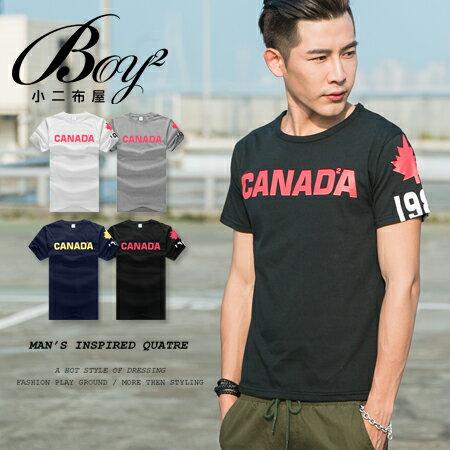 ☆BOY-2☆【PPK82130】韓版潮流素面CANADA男裝短袖T恤 0