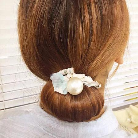 韓版 雪紡蝴蝶結盤髮器 髮帶 珍珠 蝴蝶結 碎花 丸子頭 包頭 盤髮器 髮飾【B061921】