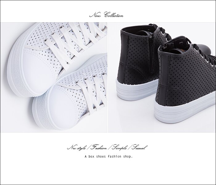 格子舖*【KJ18069】MIT台灣製 太陽的後裔宋慧喬同款 透氣洞洞皮革 拉鍊綁帶高筒3.5CM厚底休閒鞋 2色 2