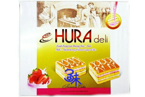 (越南) HURADELI 三層夾心蛋糕- 草莓牛奶 1盒 168 公克(6入)  特價 53 元【8934609602414 】
