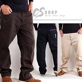 【CS衣舖.7047】40~46腰大尺碼 韓版純色 經典格紋造型 彈力伸縮長褲 三色 - 限時優惠好康折扣