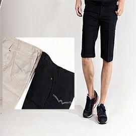 CS衣舖  加大尺碼 百搭基本款  彈性 素面休閒短褲40腰~48腰 091718 0