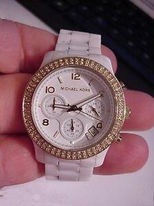 美國Outlet正品代購 MichaelKors MK 金色陶瓷 水鑽 三環 手錶 腕錶 MK5237 6