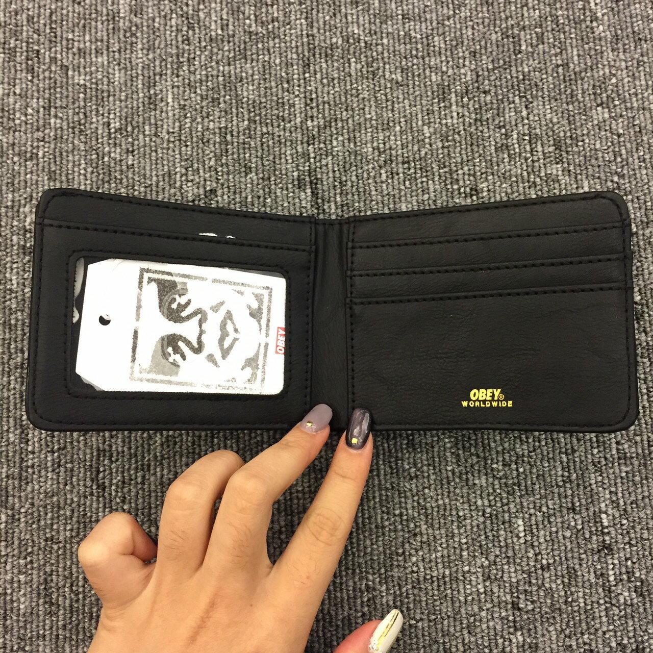 BEETLE PLUS 西門町經銷 美國品牌 OBEY GENTRY BI-FOLD WALLET 全黑 皮夾 短夾 100310070BLK OB-405 1
