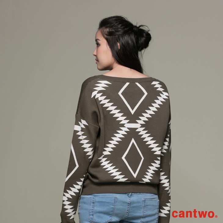 cantwo幾何民俗圖紋針織上衣(共三色) 3