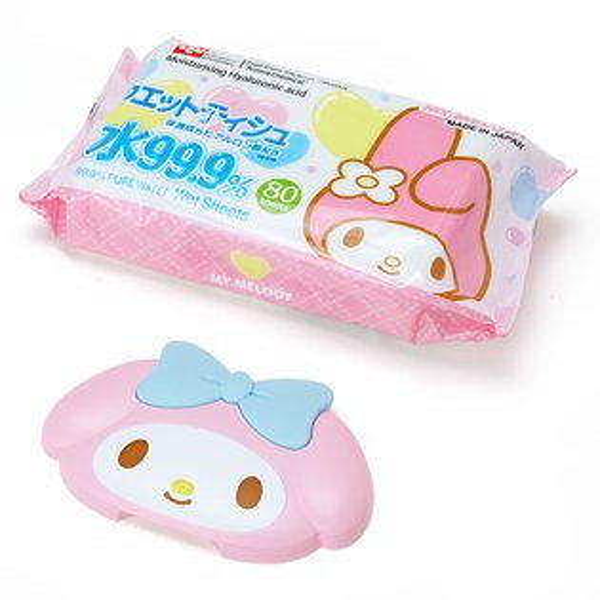 有樂町進口食品 生活精品 sanrio 三麗鷗美樂蒂濕紙巾 《 附重覆黏專用盒蓋/紙巾蓋 》J150 4901610157732