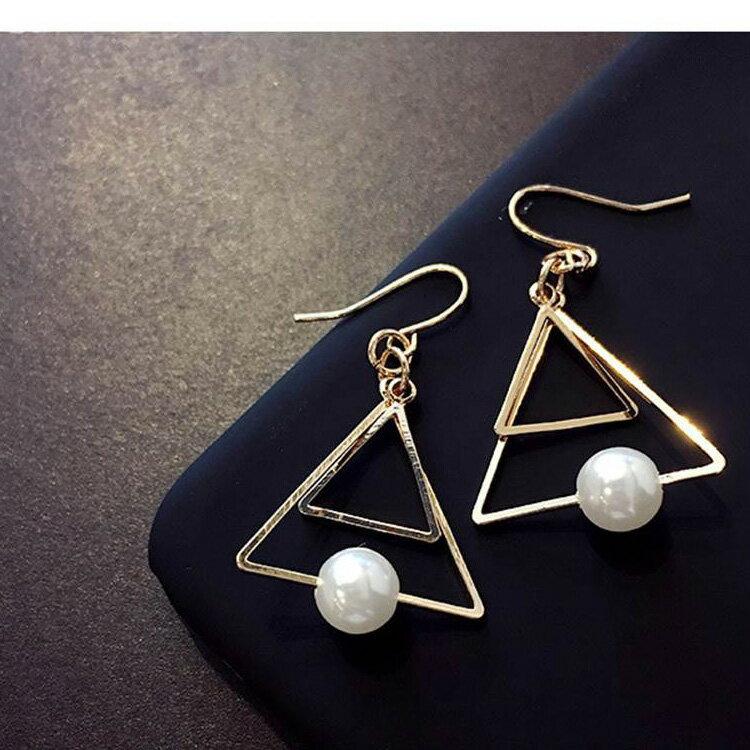 耳環 三角形珠珠極簡氣質耳環耳釘【TSEG670】 BOBI  07/07 2