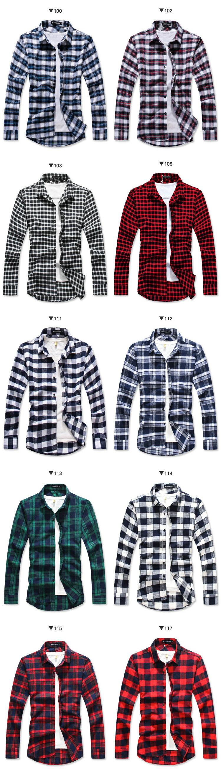 ☆BOY-2☆【NQ97012】法蘭絨格紋長袖襯衫 現+預 2