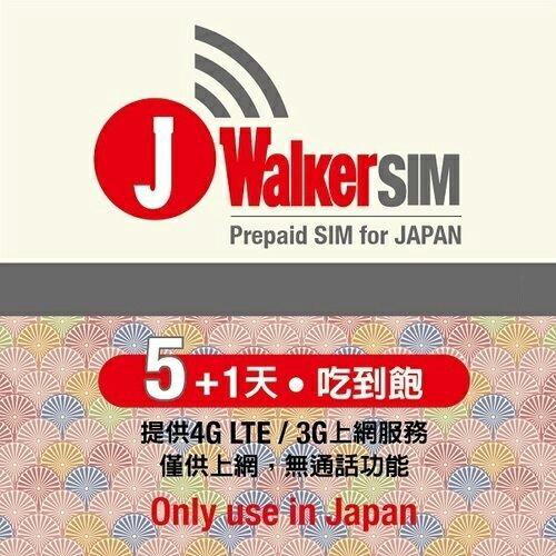 【贈魚骨頭集線器】J Walker SIM 5+1天日本網卡 【葳豐數位商城】