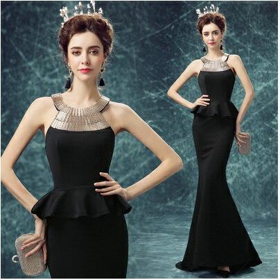 天使嫁衣【AE9608】黑色削肩包臀修身小托尾晚禮服˙預購訂製款