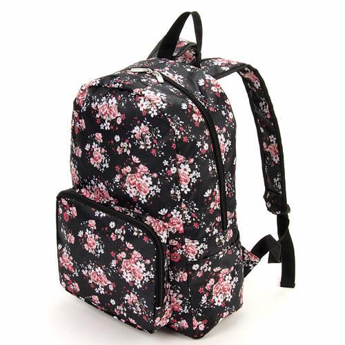【現貨+預購】摺疊收納旅行後背包 -日本設計款 黑底玫瑰 - 限時優惠好康折扣