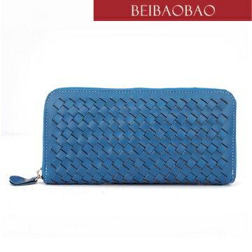 【BEIBAOBAO】法式 編織真皮時尚皮夾(天際藍)