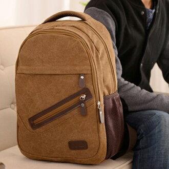 後背包-韓版牛皮斜拉鍊休閒旅遊外出包 電腦包 男女款時尚帆布後背包 包飾衣院 J1036 現貨