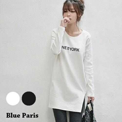 上衣 - 長版簡約設計下擺開衩長袖T恤【29149】藍色巴黎《2色》現貨 + 預購