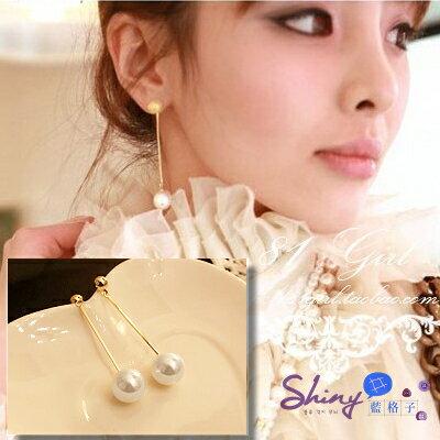 *︵shiny藍格子︵*【02A38】OL氣質鍍金水滴吊墜長款大珍珠耳環