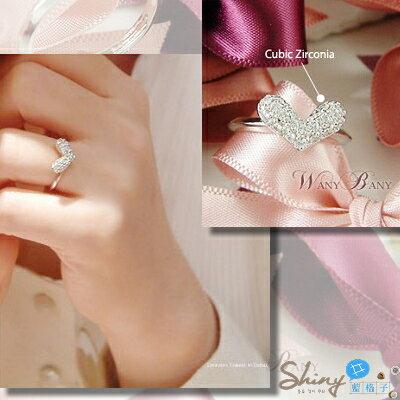 *︵shiny藍格子︵*【10A58】浪漫微風.閃亮滿鑽愛心造型可調式戒指。銀