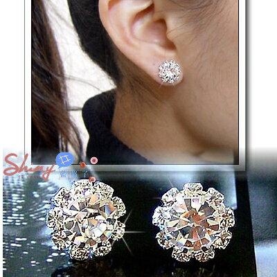 *︵shiny藍格子︵*【20A44】獨特設計.時尚閃亮太陽花造型鑽石耳環。