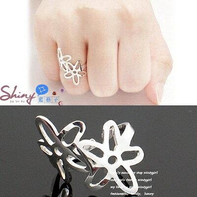 *︵shiny藍格子︵*【21A40】素雅風格.鏤空雙風信子花造型戒指。銀