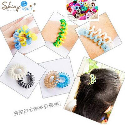 *︵shiny藍格子︵*【30A30】彩色艷陽.熱賣款糖果色電話線造型髮圈。