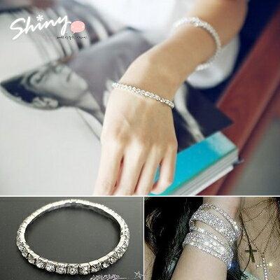 *︵shiny藍格子︵*【50A32】夏日星空.閃閃銀色單排水鑽彈力手環。銀