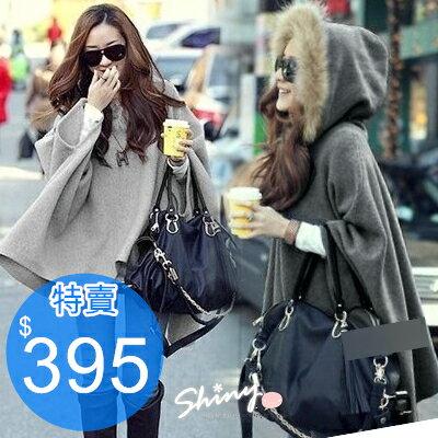 *︵shiny藍格子︵*【7348】韓式作風.毛領連帽斗篷式毛呢罩衫外套。淺灰/深灰
