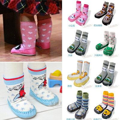 【DP300】shiny藍格子-兒童寶寶防滑皮底地板厚毛巾襪子(隨機出貨)