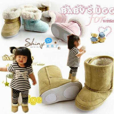 shiny藍格子【DP380】高統毛絨保暖粉嫩雪靴學步鞋。