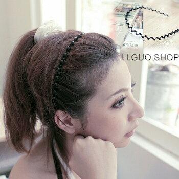 【X262】shiny藍格子-營造自然.時尚感波浪細版髮箍髮圈。黑