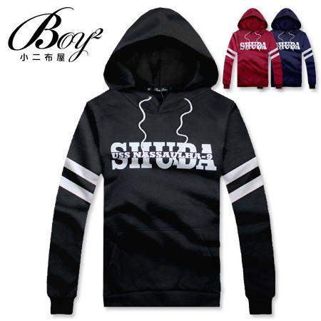 ☆BOY-2☆ 【NR73992】抽繩連帽長袖T恤簡約條紋素面英文字母 0