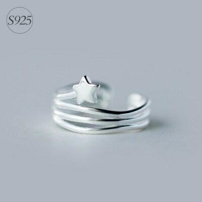 925純銀戒指開口戒~優雅多圈星星 生日情人節 女飾品73dt514~ ~~米蘭 ~ ~