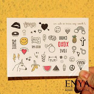 歐美流行 彩色獨角馬 防水紋身刺青貼紙 Enya恩雅【TASS5】