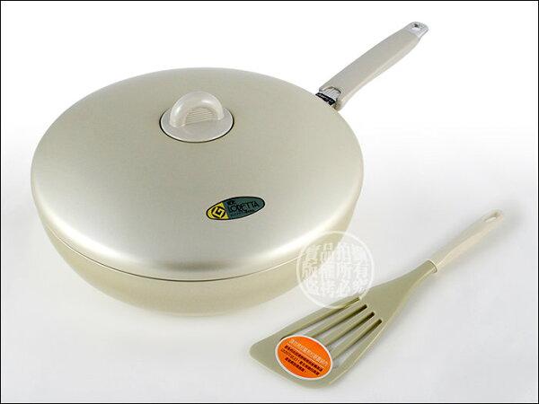 快樂屋♪ 日本掌廚理研平底鍋 LO-28F 28CM 附蓋、煎匙 不沾鍋效果優於七層不鏽鋼鍋 可當小炒菜鍋