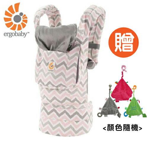 【 贈三角固齒安撫巾 】美國【 Ergobaby 】原創基本款嬰兒揹巾-粉灰齒紋 0