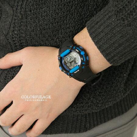 JAGA捷卡 輕巧多功能防撞設計中性電子錶 冷光照明防水100米 柒彩年代【NE1413】單支售價 0