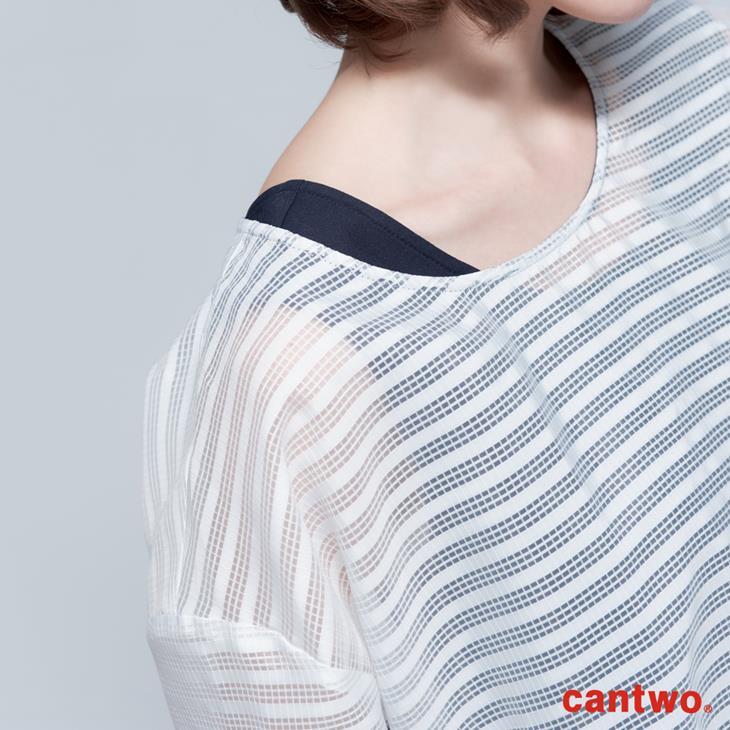 cantwo極簡H型格紋薄紗兩件式洋裝(共二色) 4